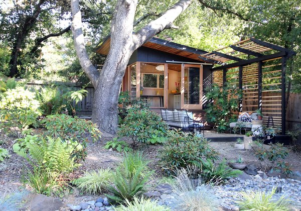 The Shudio and patio with privacy trellis.