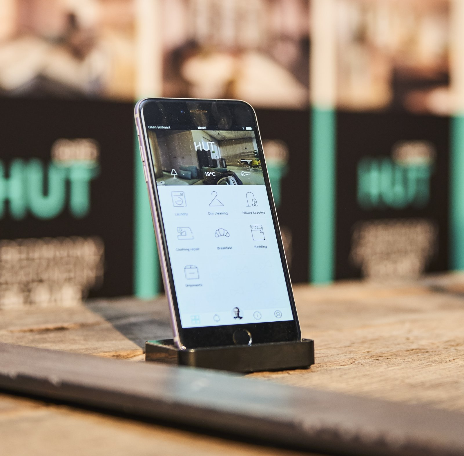 HUT app Tagged: Living Room, Concrete Floor, Coffee Tables, Chair, Table Lighting, Wall Lighting, Floor Lighting, and Ceiling Lighting.  HUT by Merel Luime