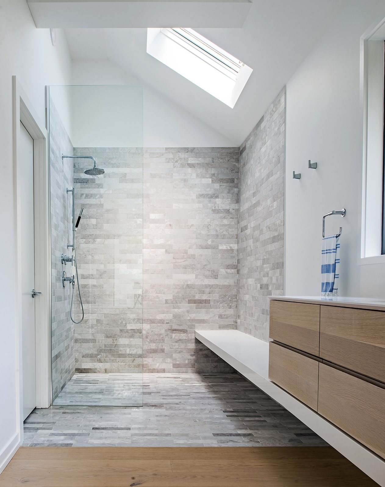 Tagged: Bath Room, Engineered Quartz Counter, Light Hardwood Floor, Freestanding Tub, Undermount Sink, Open Shower, Ceiling Lighting, and Stone Tile Wall.  Richview Residence by StudioAC