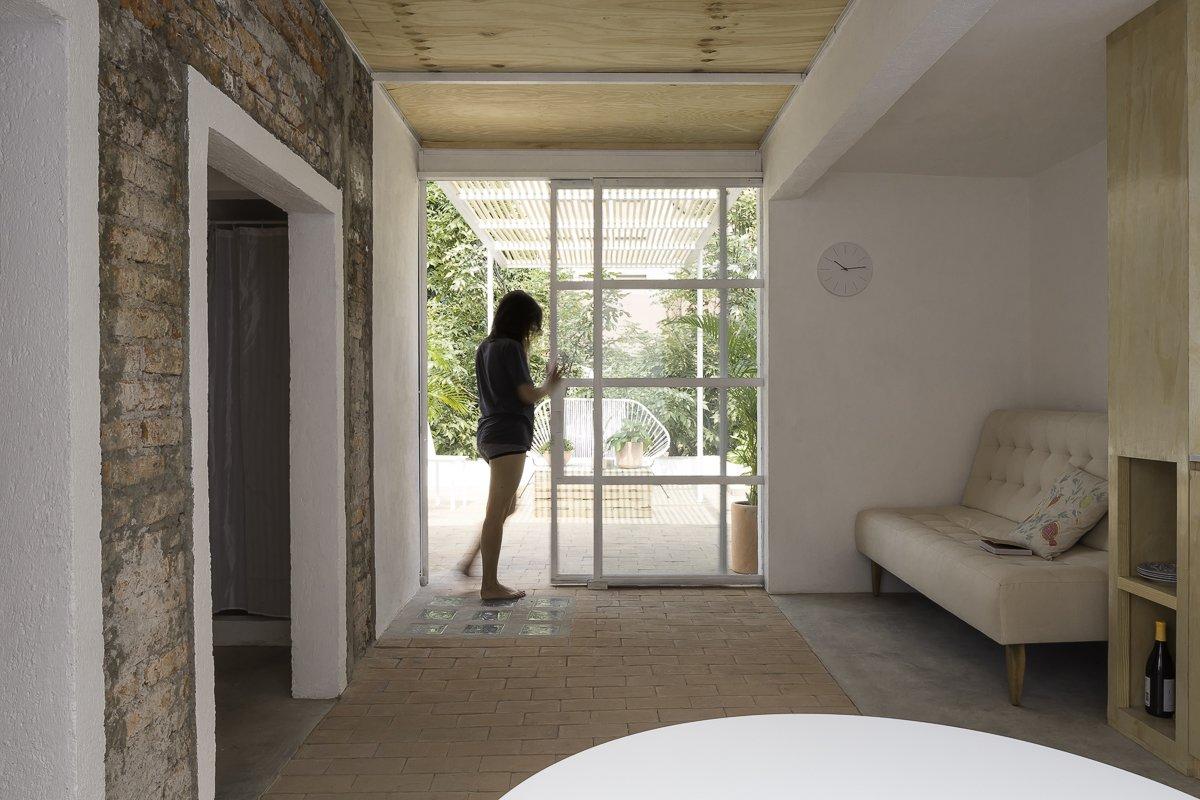 Pocket doors open space to the terrace