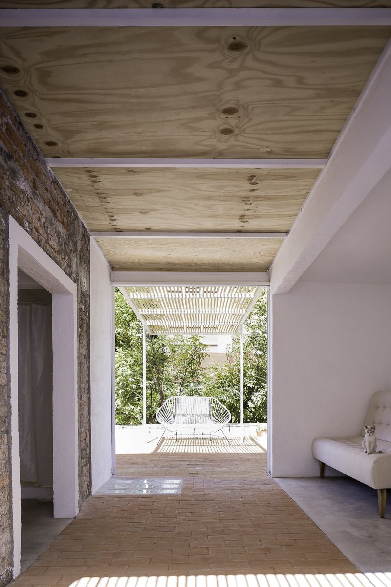 View towards the terrace Tagged: Sofa, Brick Floor, Outdoor, Concrete Floor, and Rooftop.  Narvarte Terrace by PALMA