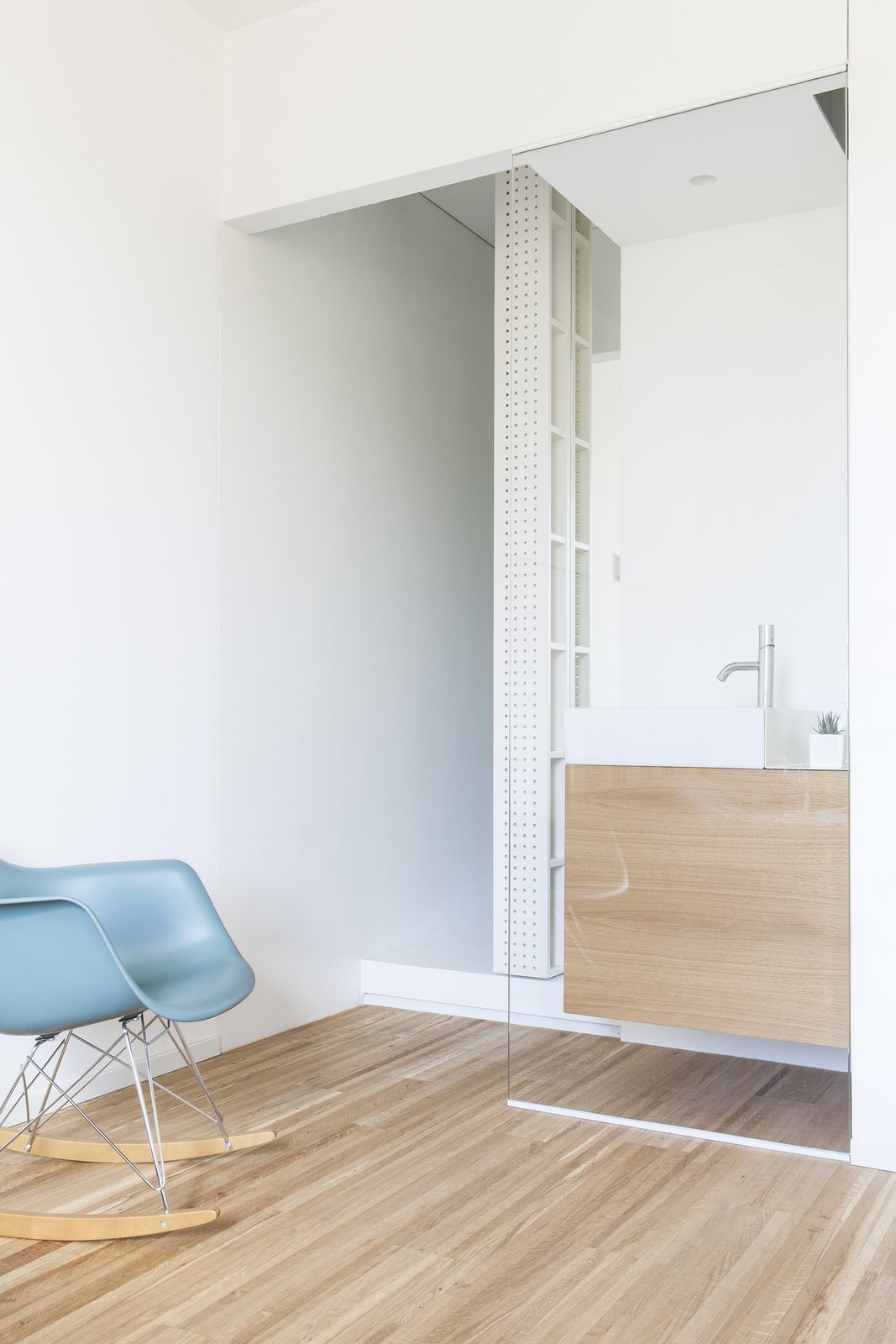 Tagged: Bath Room, Wood Counter, Medium Hardwood Floor, Concrete Floor, Wall Lighting, Full Shower, Vessel Sink, Ceiling Lighting, Concrete Wall, and One Piece Toilet. Interior LP by Didonè Comacchio