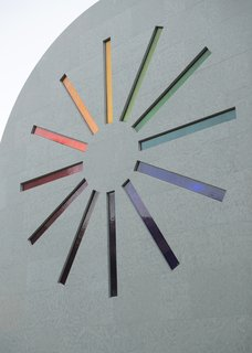 """Artist Ellsworth Kelly's Final Work Is Now Open in Austin - Photo 4 of 9 - A stained glass """"starburst"""" design adorns the west façade of Ellsworth Kelly's """"Austin"""""""