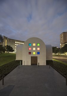 """Artist Ellsworth Kelly's Final Work Is Now Open in Austin - Photo 2 of 9 - The south façade of Ellsworth Kelly's """"Austin"""" with an entry door fabricated from live oak"""