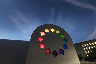 """Artist Ellsworth Kelly's Final Work Is Now Open in Austin - Photo 3 of 9 - A stained glass design of """"tumbling squares"""" adorns the east façade of Ellsworth Kelly's """"Austin."""""""