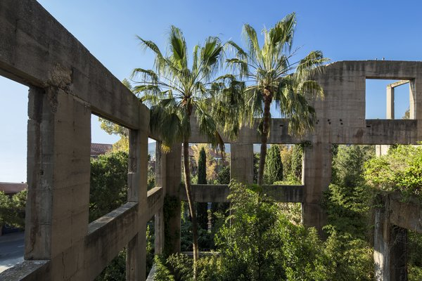 Exposed concrete walls and lush plantings conjure images of a modern-day ruin.