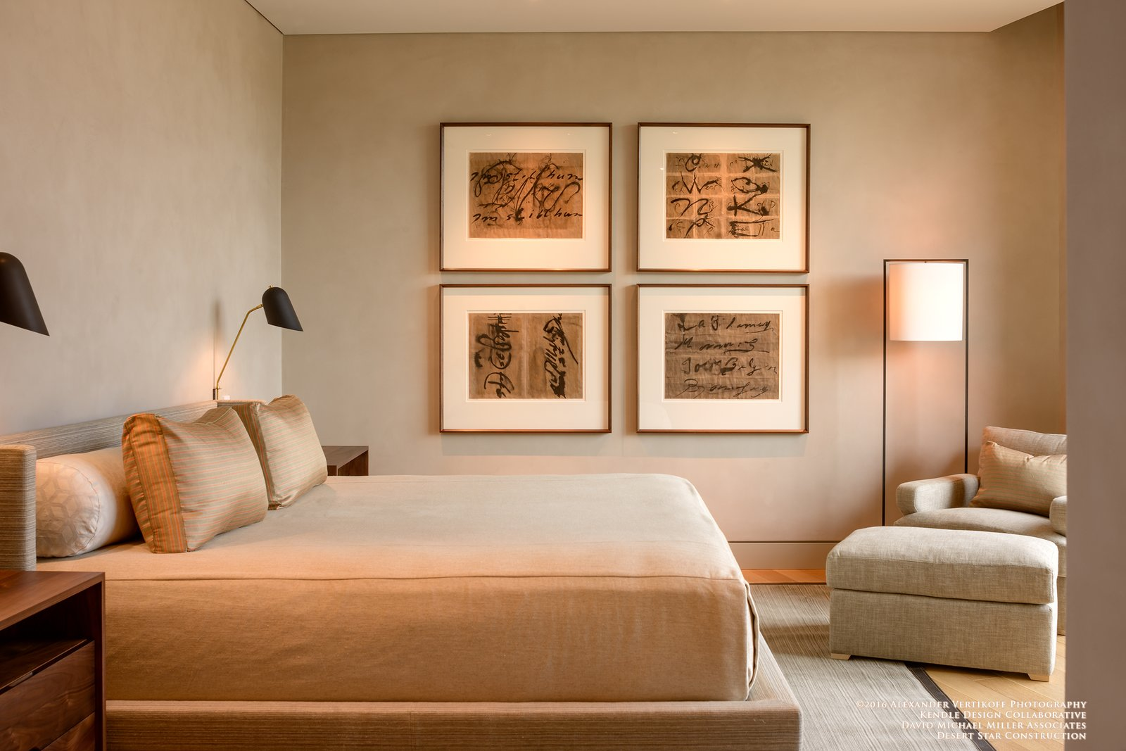 Tagged: Bedroom, Bed, Night Stands, Chair, Recessed Lighting, Floor Lighting, Wall Lighting, and Light Hardwood Floor. Dancing Light by Brent Kendle