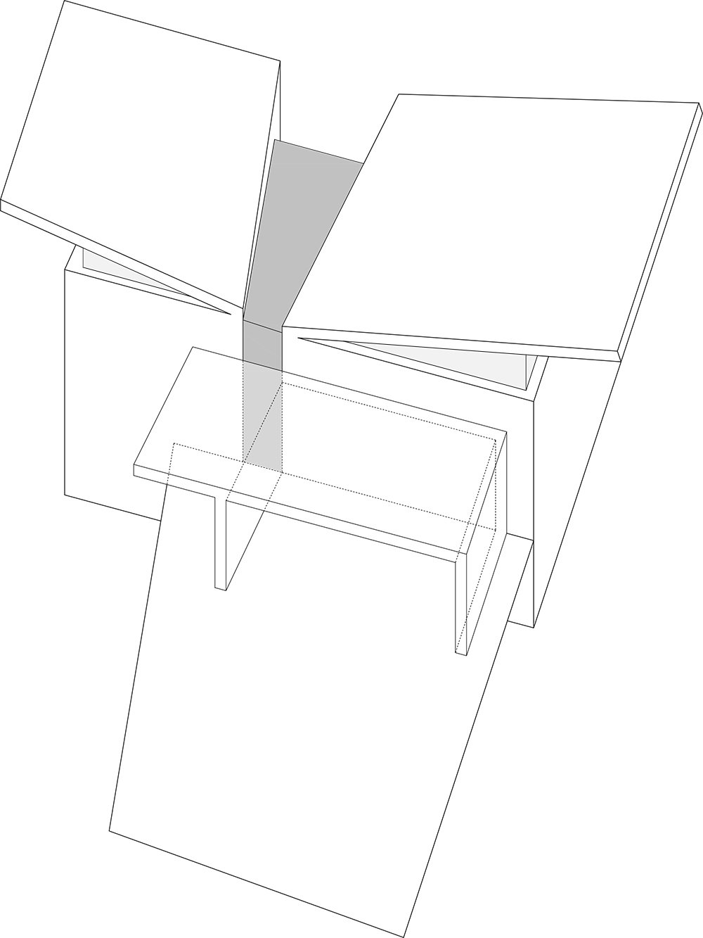 Conceptual diagram of the two blocks sit that come together in the middle with a wedge-shaped volume that forms the entrance and the vertical circulation leading to the main spaces of the house The Wedge House by Marianna Athanasiadou