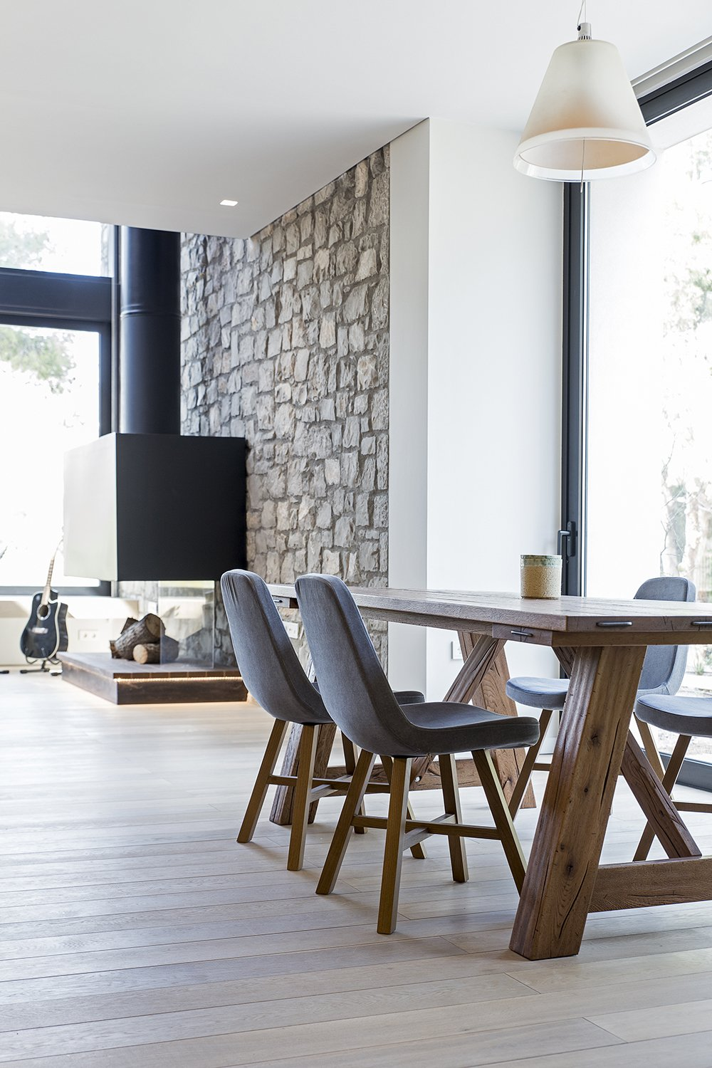 The natural light floods the space throughout the day