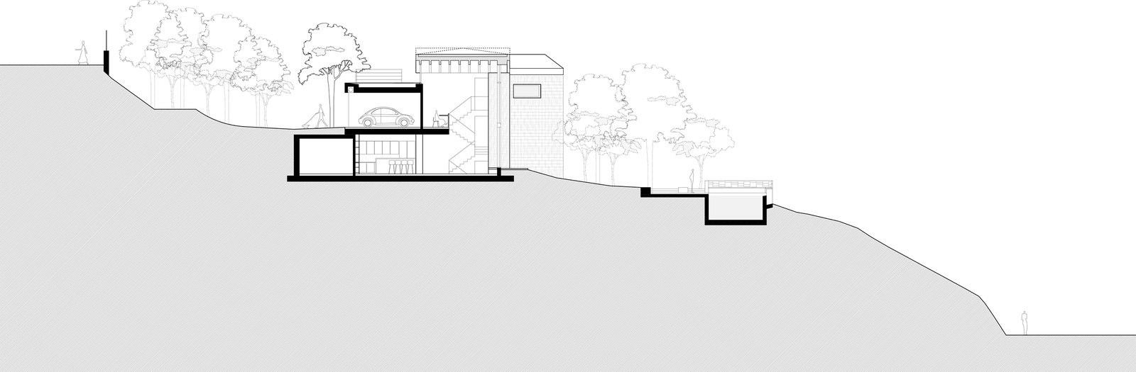 Longitudinal section showing the steepness of the terrain. An almost 20-meter-height-difference from one side of the site to the other and virtually vertical cliffs on both edges made it inevitable the house to be situated at the mild inclined surface that appeared in the middle of it  The Wedge House by Marianna Athanasiadou