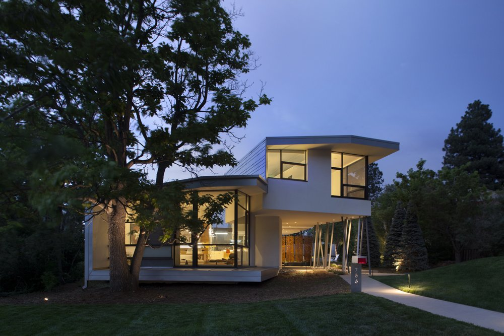 Arch11-designed home at the base of Chautauqua Park in Boulder, CO Tagged: Exterior, House, Stucco Siding Material, Metal Siding Material, Metal Roof Material, Curved RoofLine, and Glass Siding Material.  6th Street by Arch11