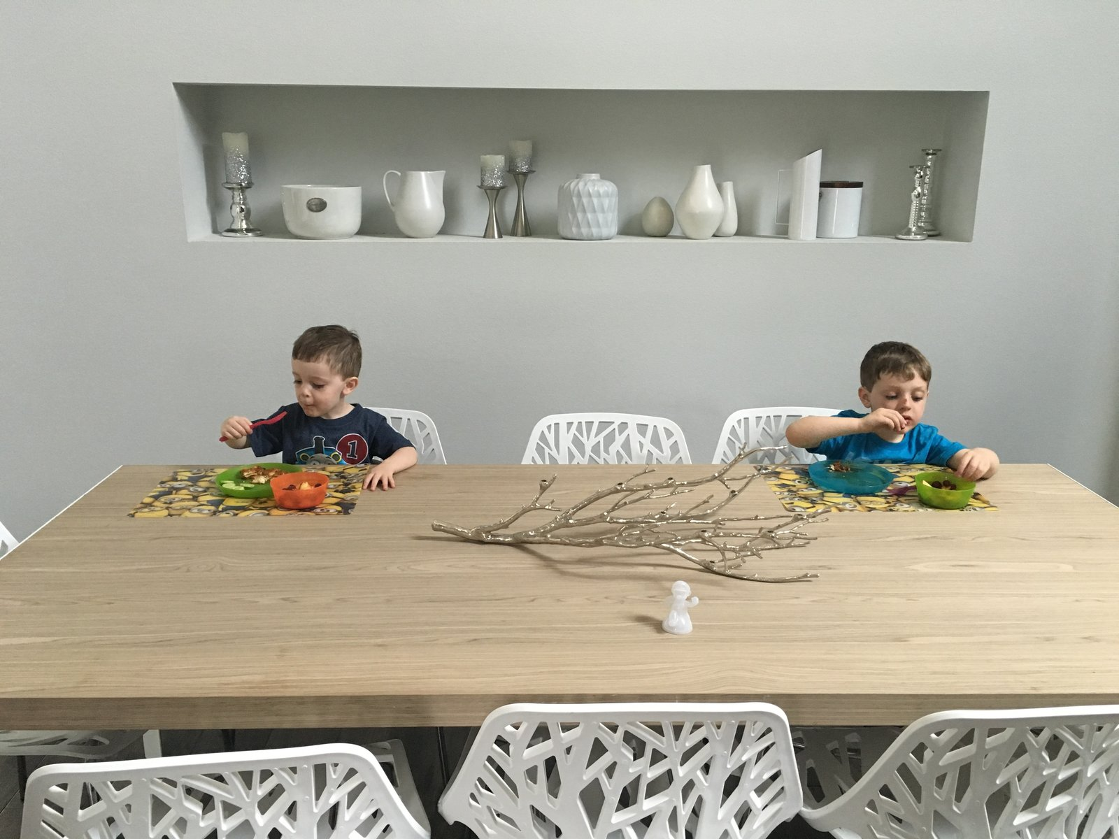 The boys eating modern. (2016) Tagged: Dining Room, Table, Chair, Storage, Recessed Lighting, and Dark Hardwood Floor.  530 house by Nathan Kalaher