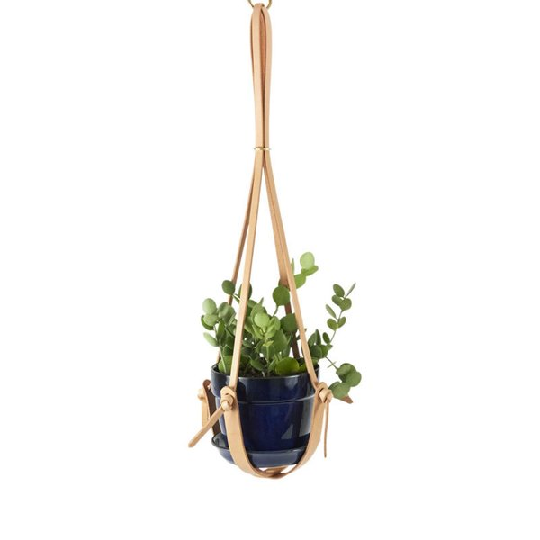 Knotted Leather Hanging Plant Holder