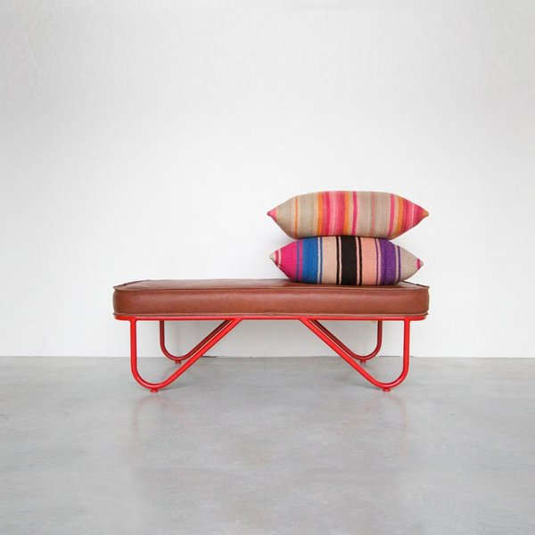 Garza Marfa Bench, Upholstered Leather