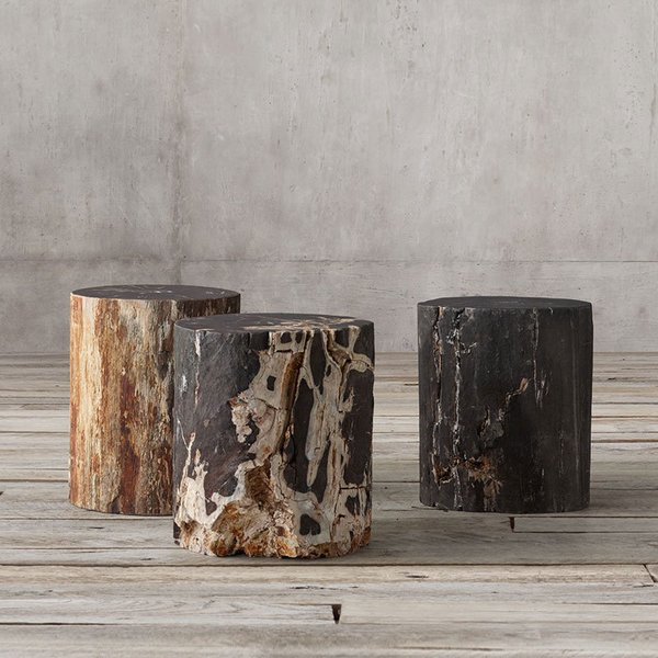 Restoration Hardware Petrified Wood Stump Dark Side Table