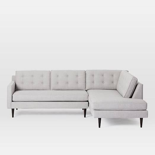 West Elm Dark 2-Piece Terminal Chaise Sectional
