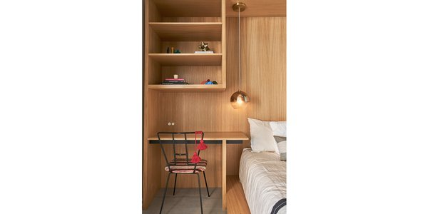 Kids guest bedroom rift & quartered oak millwork bed, desk & shelving.