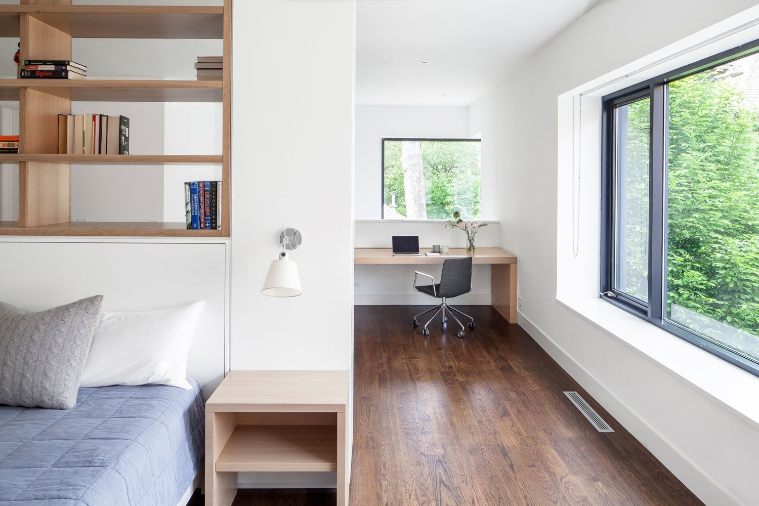 An interior fit out of an existing Coach House, previously renovated by Dubbeldam Architecture + Design Tagged: Office, Study, Bookcase, Chair, Storage, Shelves, Desk, Lamps, Library, Medium Hardwood, and Dark Hardwood.  Best Office Medium Hardwood Storage Photos from Coach House