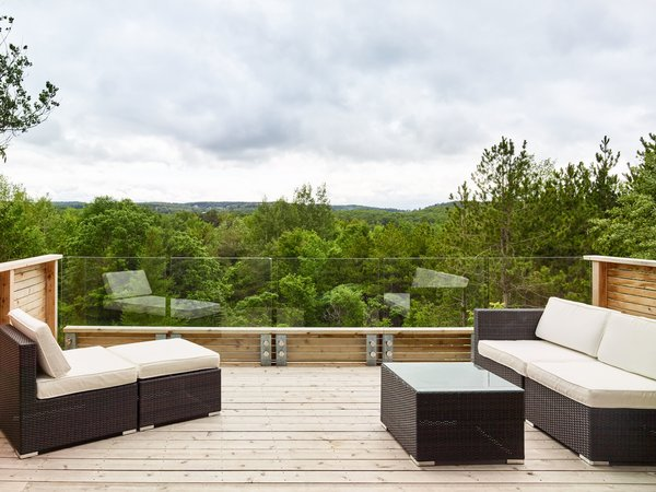 View looking over hills from deck.