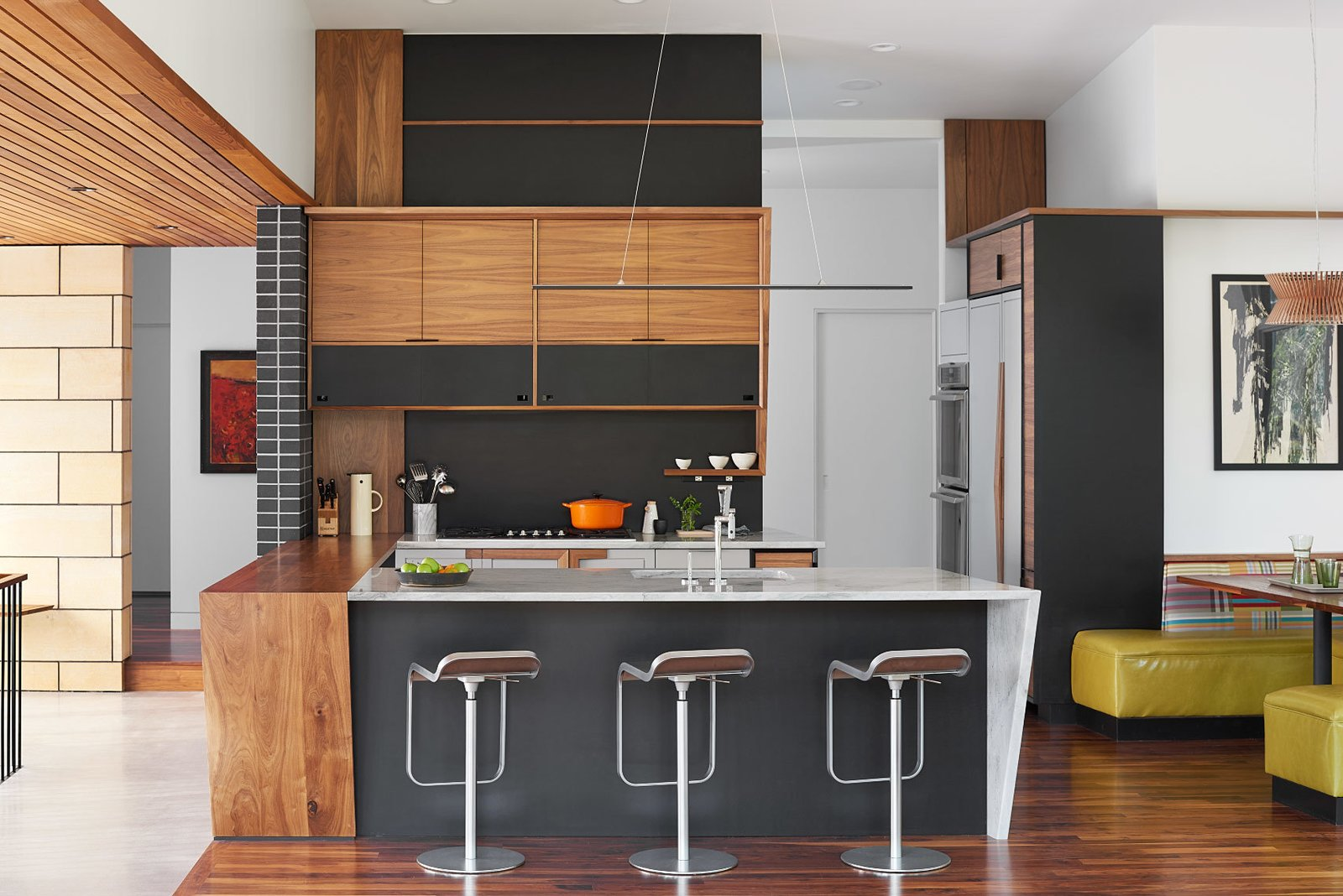 Tagged: Kitchen, Marble, Wood, Wood, Metal, Medium Hardwood, Concrete, Metal, Ceiling, Pendant, Accent, Recessed, Refrigerator, Wall Oven, Cooktops, and Undermount.  Best Kitchen Metal Medium Hardwood Photos from Theodore Wirth Ranch