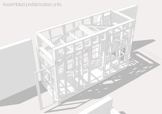 """A Quirky Micro-Office Hides Behind a """"Hairy"""" Facade - Photo 5 of 11 - Here is a SketchUp rendering of the assembled prefab unit."""