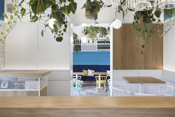 Materials in varying shades of blue bring the sky indoors.