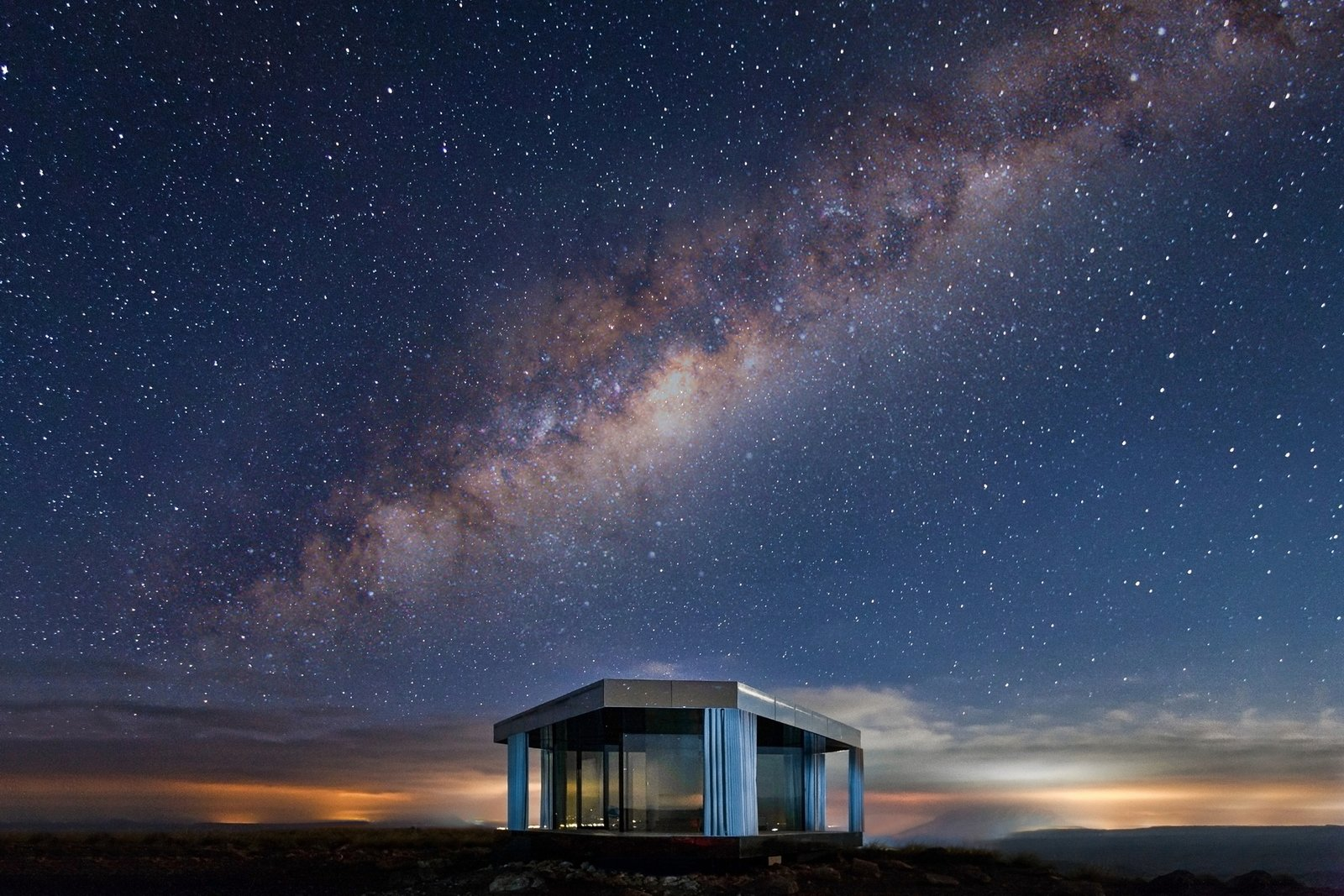 The glass home is perfectly positioned for stargazing.