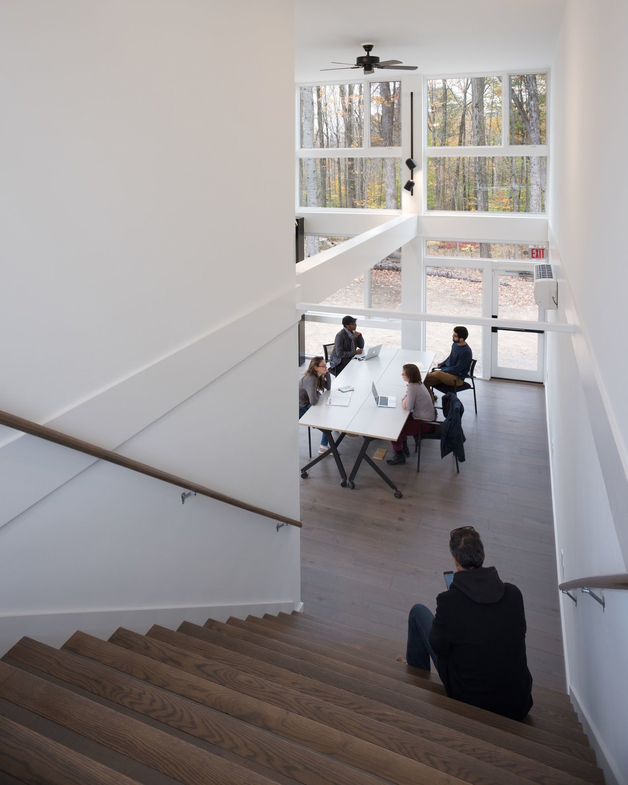 The stairs double as auditorium-style seating.