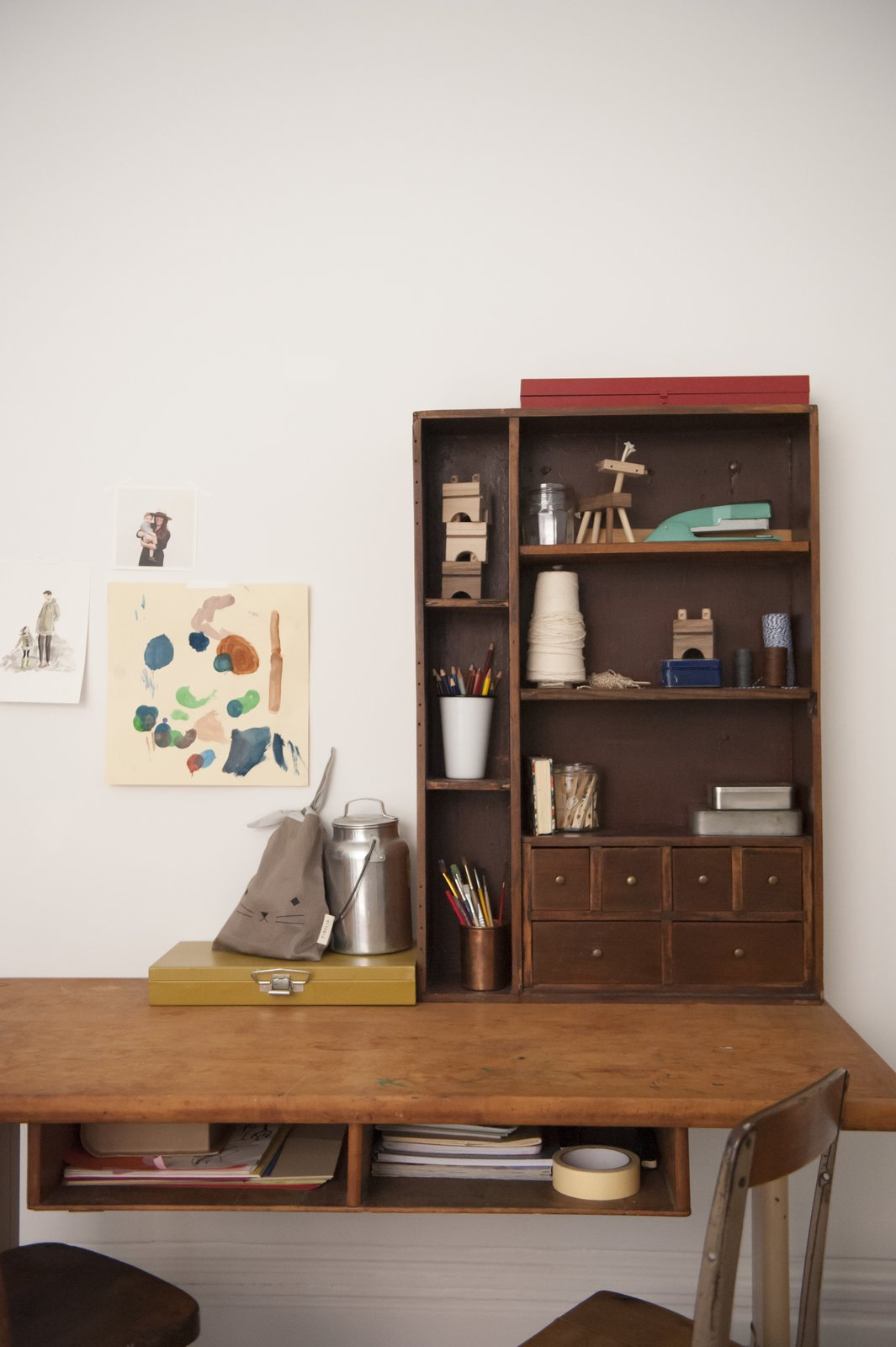 Tagged: Kids Room, Bedroom, Shelves, Storage, Desk, and Pre-Teen Age.  Best Photos from Simple and Beautiful Chicago Family Apartment