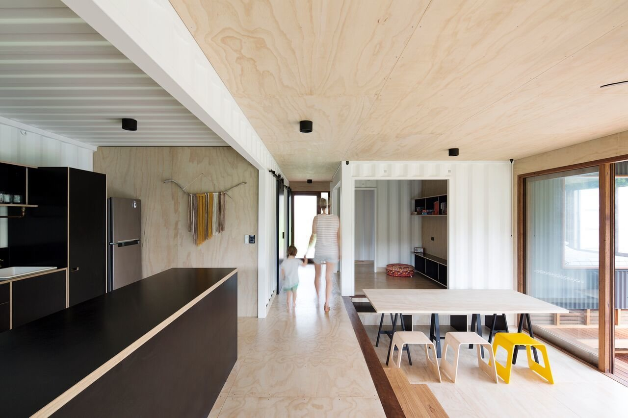 Tagged: Kitchen and Refrigerator.  Best Photos from A Shipping Container Home in Australia Made With Eco-Friendly Materials