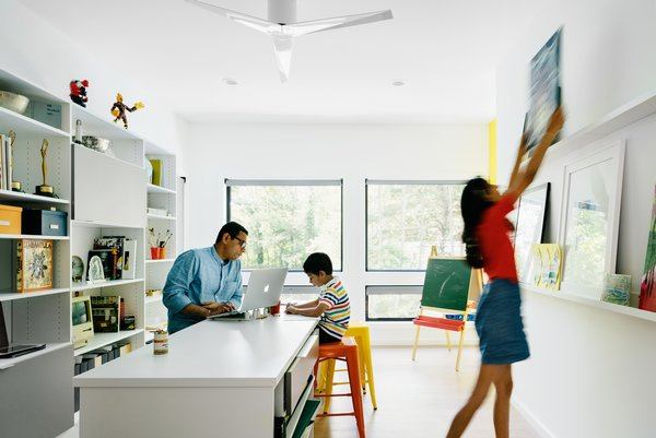 Family art room, the heart of the house where this family's shared passion of creating art together is nurtured.