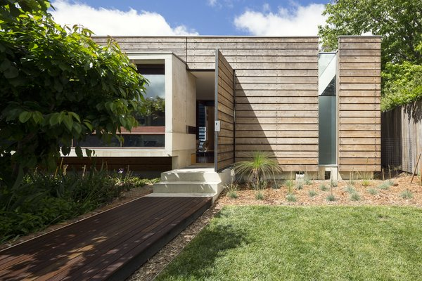 Northern elevation; Australian Cypress, concrete, and river red gum.
