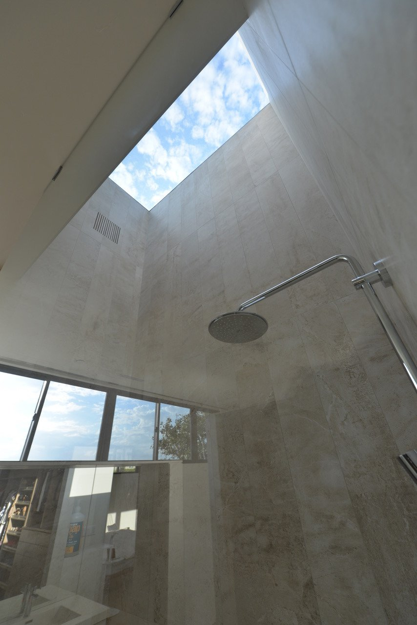 master shower sky portal Tagged: Bath Room, Open Shower, Accent Lighting, and Porcelain Tile Wall.  HLJH by dominique houriet
