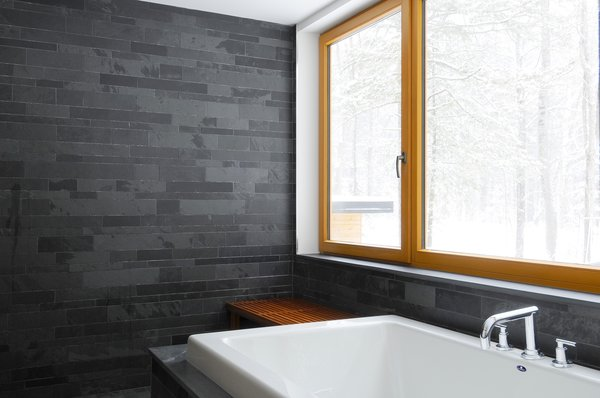 bathroom: slate and wood