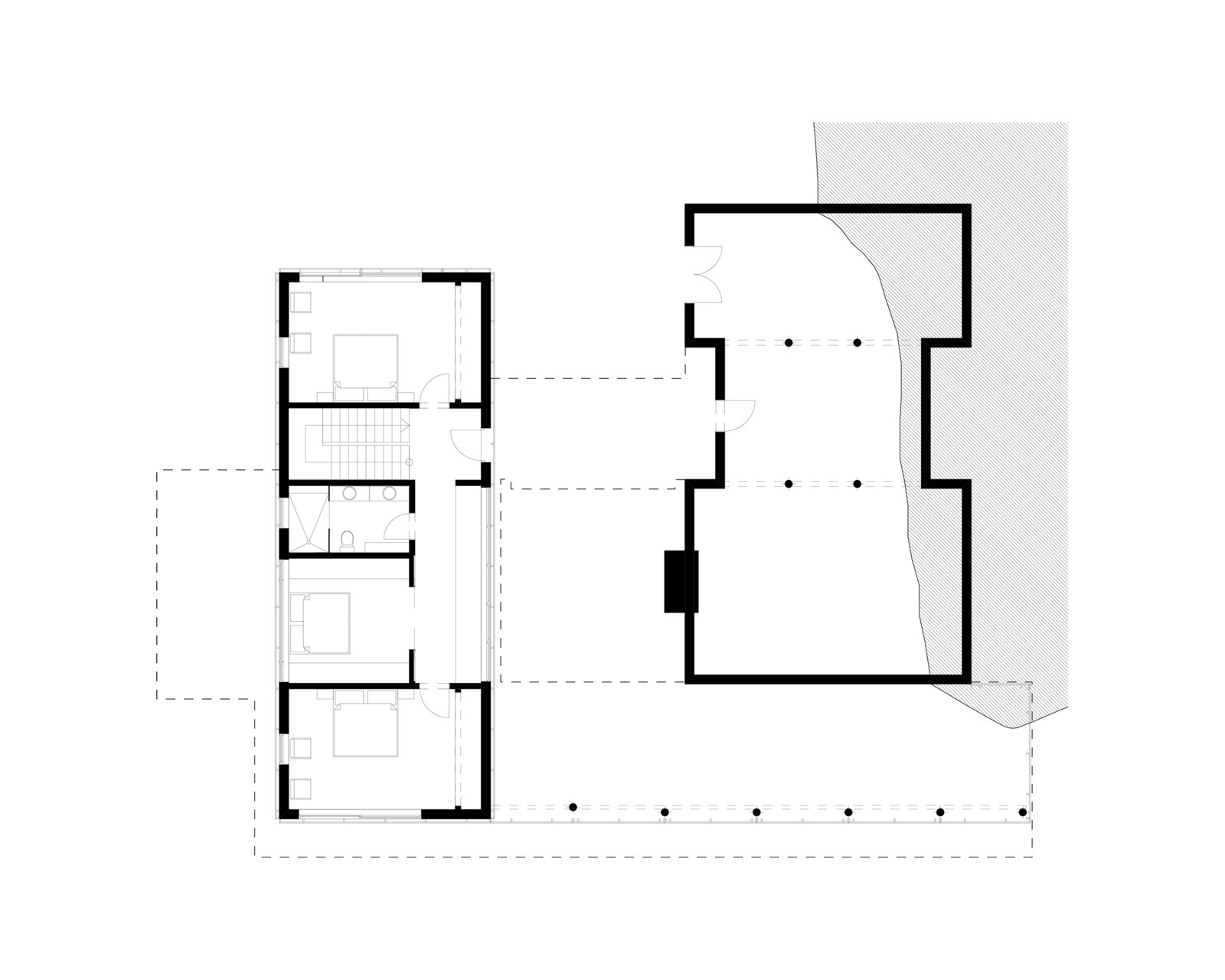 upper floor plan  Tucker Lake Cottage by Trevor McIvor Architect