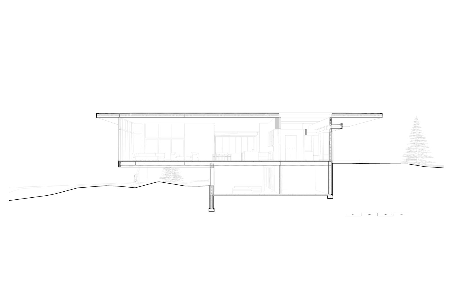 cross-sectional perspective drawings of main living space