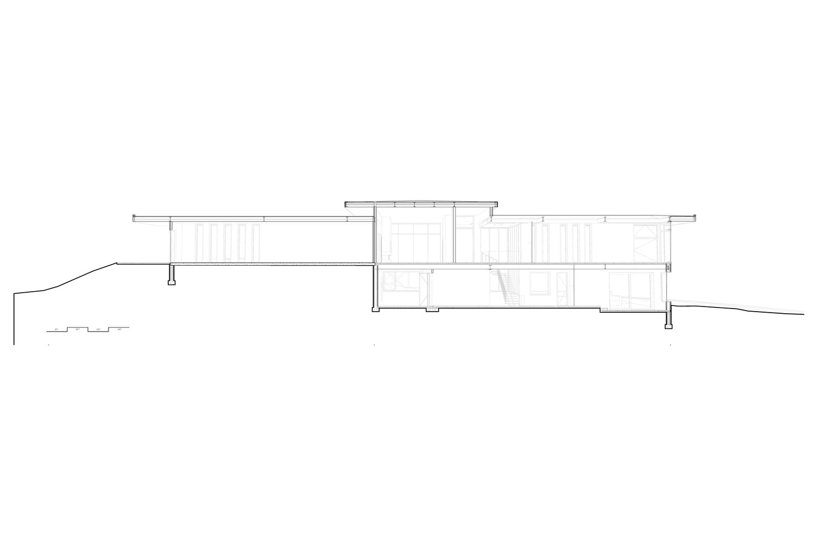 longitudinal sectional perspective drawing