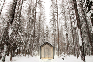 12 Prefab Guesthouses You'll Want to Put in Your Own Backyard - Photo 5 of 12 - The Mono building (here, pictured in the woods of Montana) by DROP Structures was designed for flexibility as a guesthouse, studio, or office space. With its linear floor plan, vaulted ceiling, and floor-to-ceiling glazing, it can easily accommodate lofted beds, desks, and other elements. With a living space of just over 100 square feet, it can serve as the perfect getaway and can even be customized with skylights, custom furniture, and upgraded lighting.
