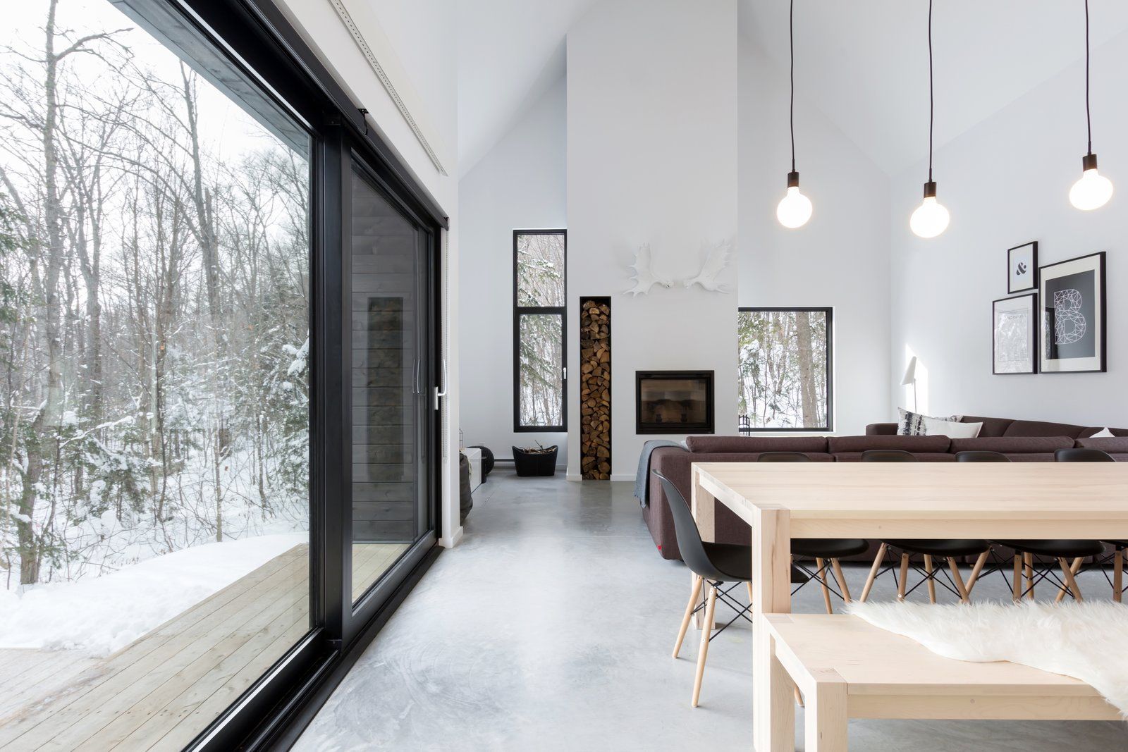 "Throughout the design, the site was quickly revealed as a powerful element of the project. By choosing carefully the location and size of each window, external views were highlighted, and the atmosphere created by natural light is pleasant throughout the whole day. As for the position of the large sliding door, it was "" pushed "" toward the main interior open space with the intention of subtly separating the internal functions while creating a outside protected space. All these intentions ultimately aim to capture the essence of this project: the surrounding nature and wildlife."