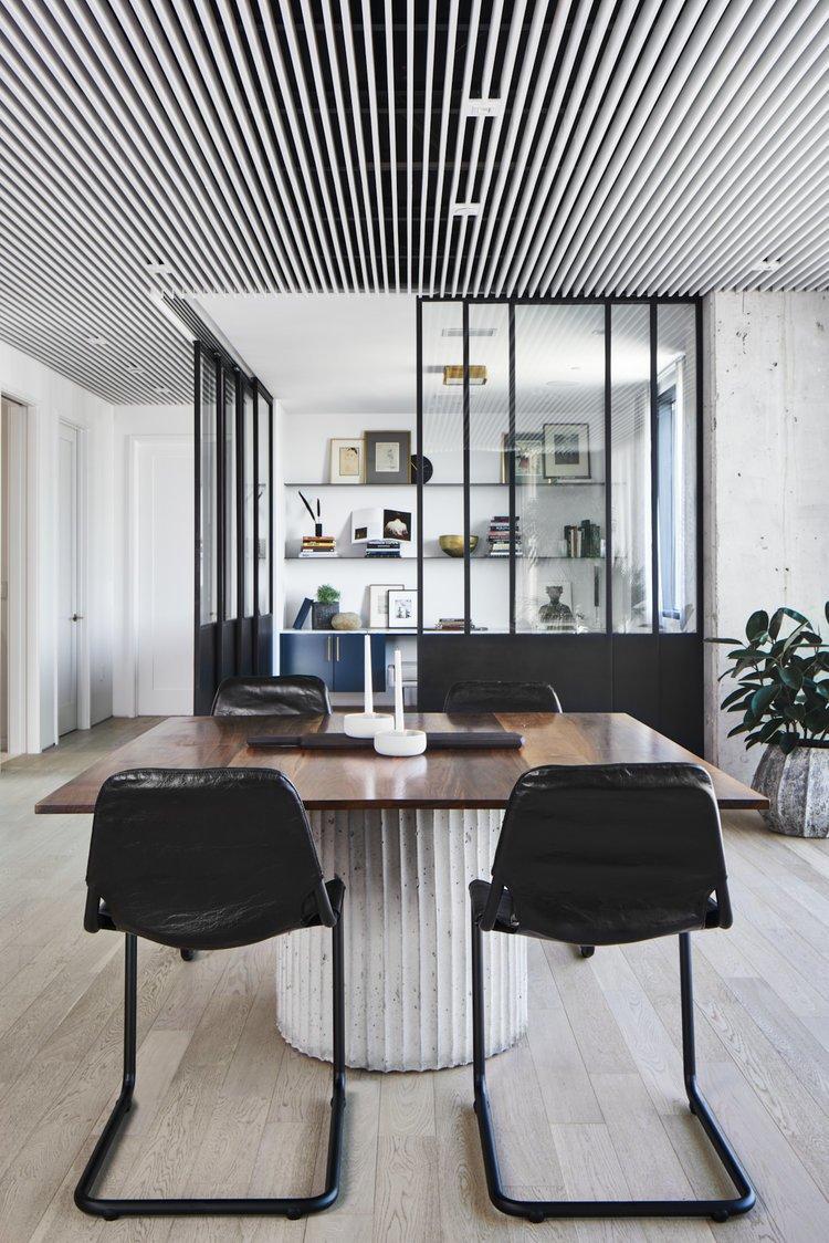 Suspended White Wood Slat Ceiling