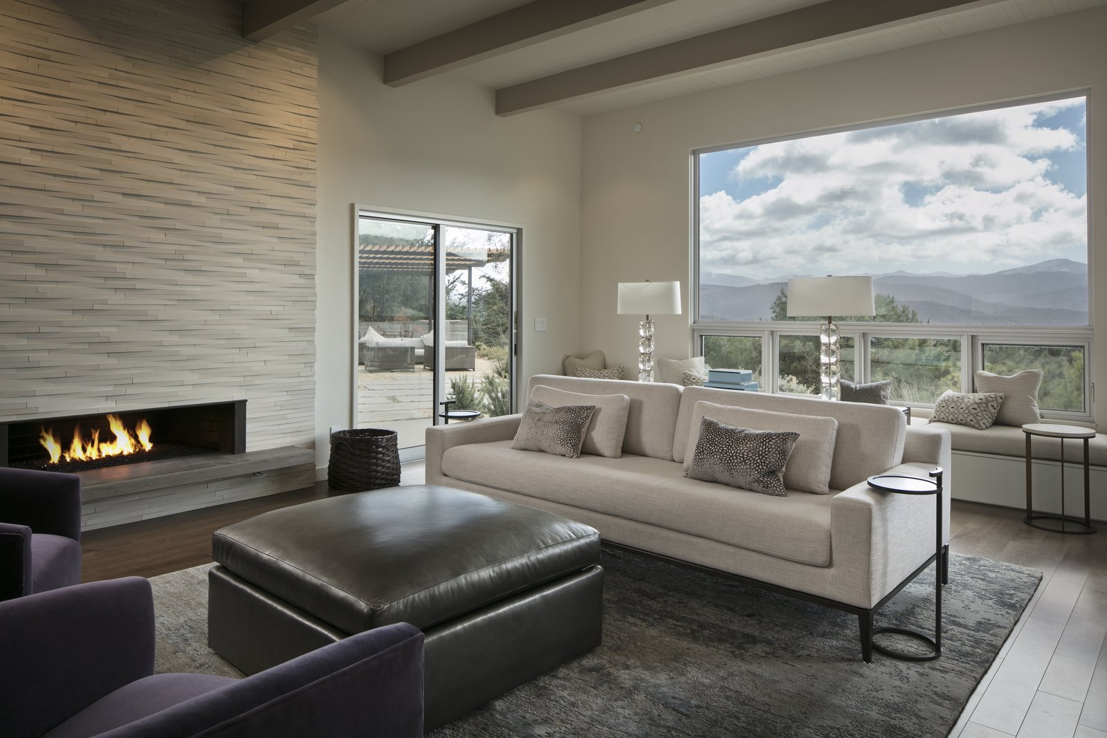 Living room featuring contemporary fireplace and gorgeous views.